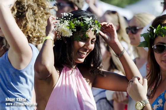 Festival-goer Sam sporting a floral crown