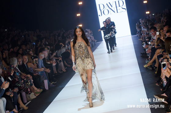 Jessica Gomes opening VAMFF for David Jones in Camilla